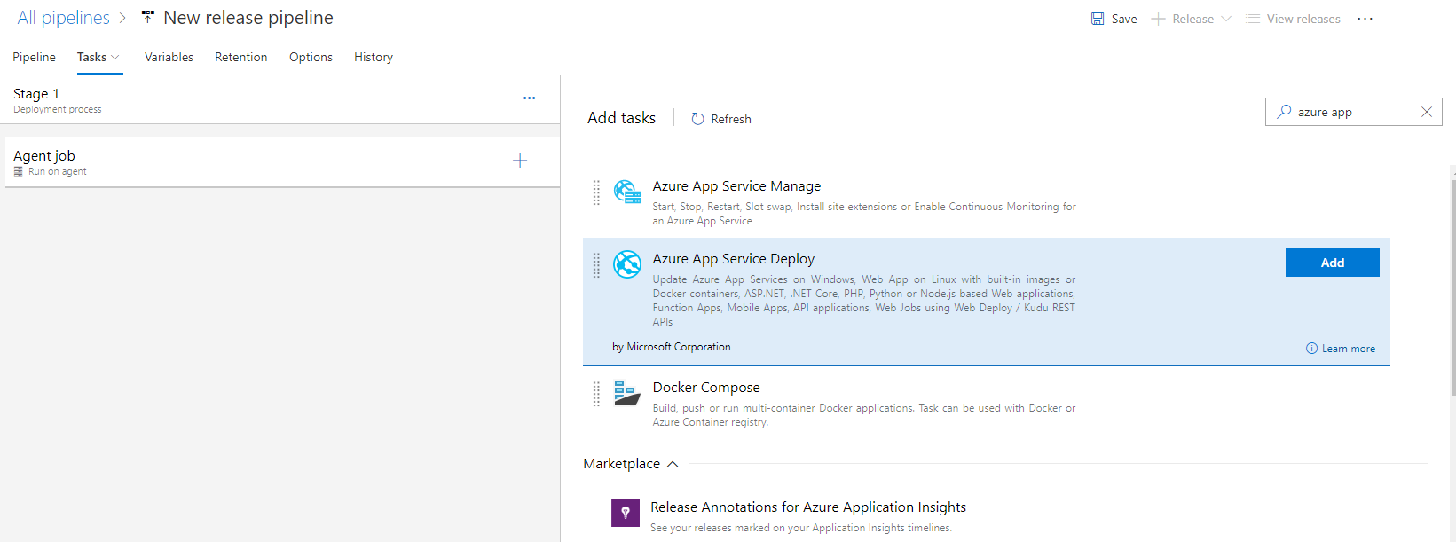 Adding deploy task to Azure Devops