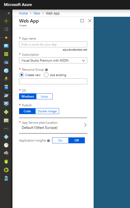 Creating new web app in Azure